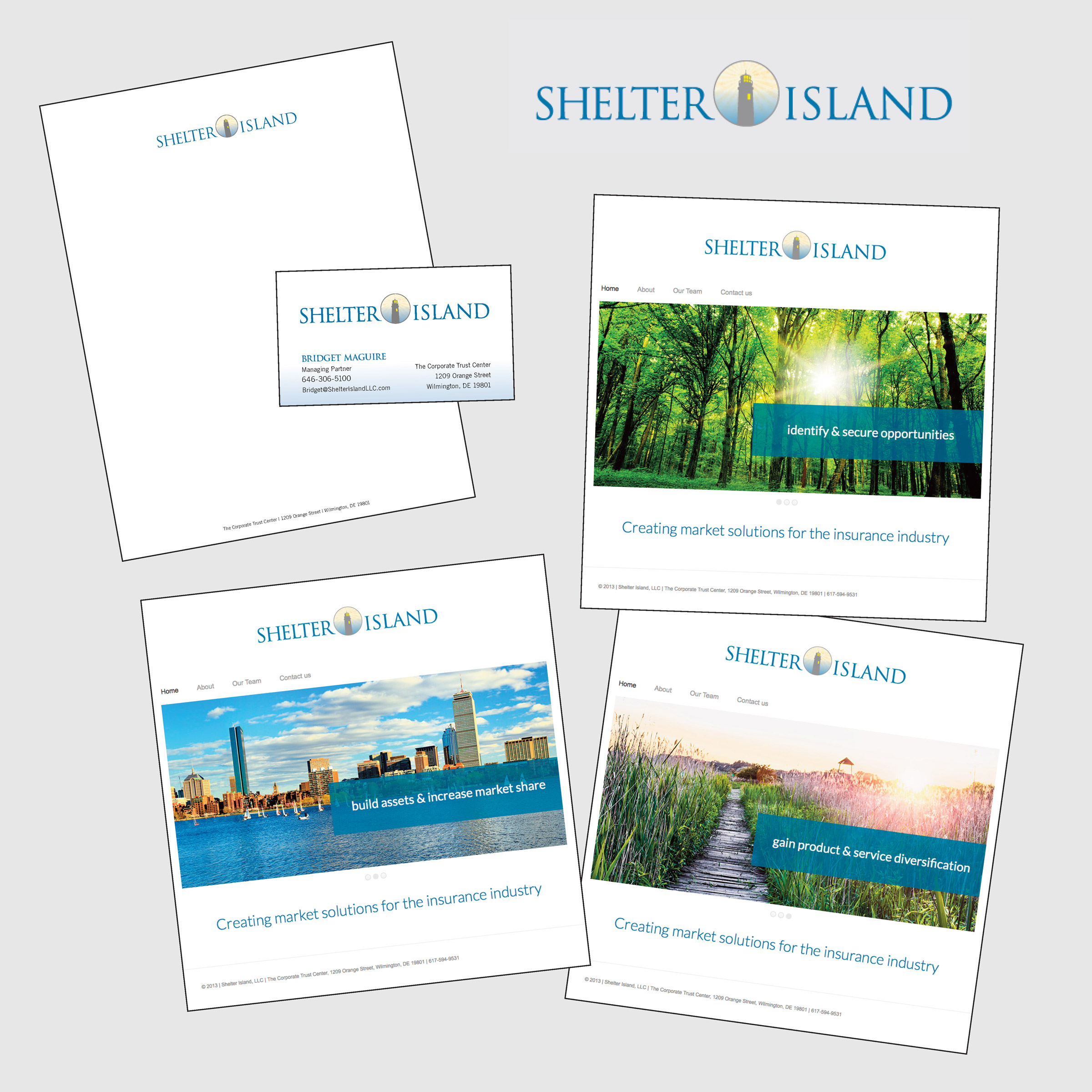 Shelter Island logo, stationery, & website pages - portfolio image