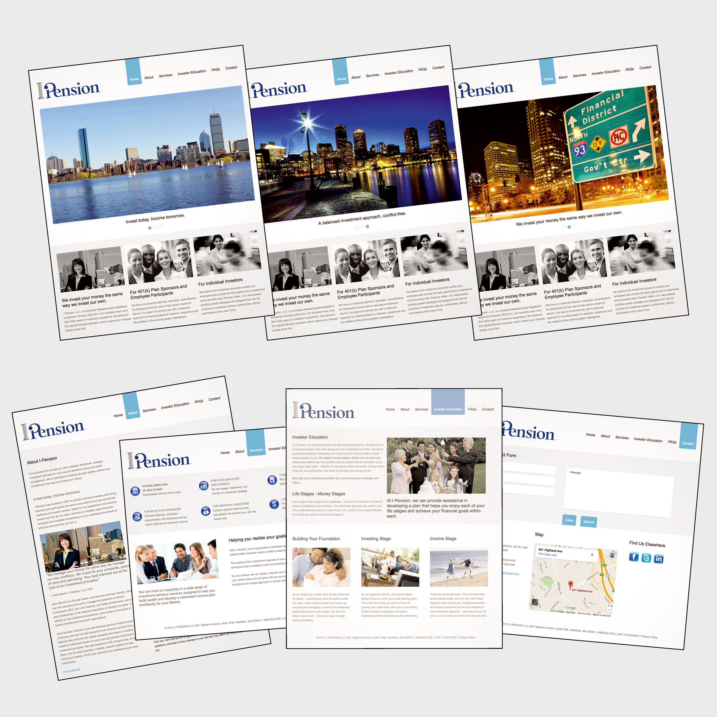 collage of i-Pension website pages - portfolio image